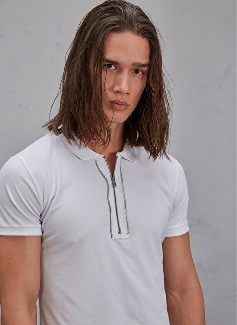 Pi π Metal Fermuarlı Polo Tişört Beyaz